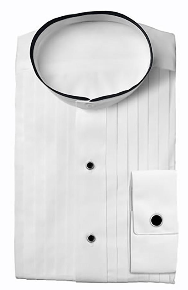 Mandarin Collar Black Trim White Tuxedo Shirt For Men