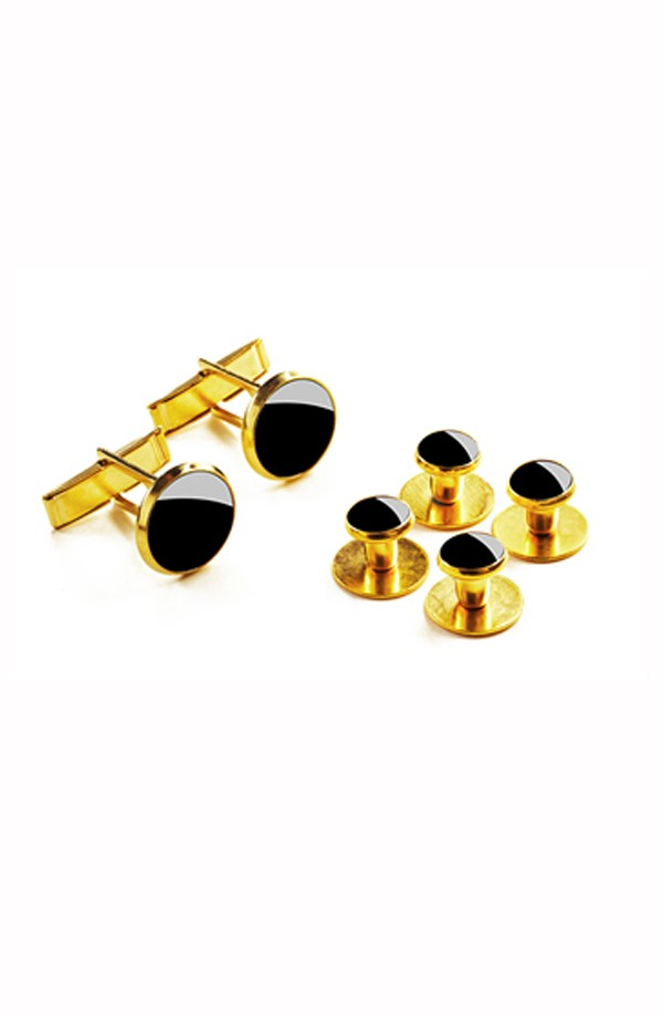 Gold Studs and Cuff Links