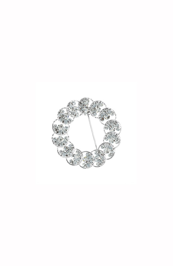 Circle Rhinestone Brooch