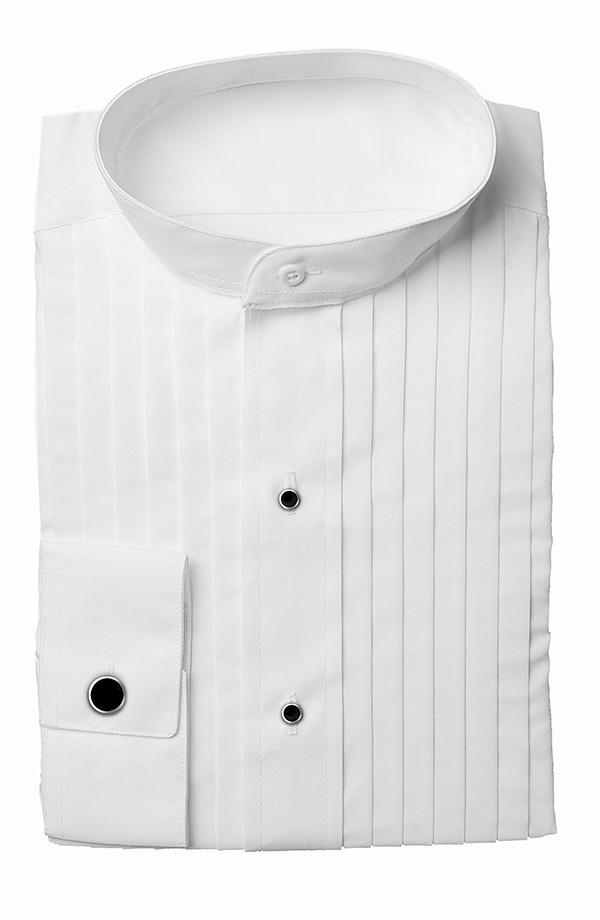 Mandarin White Tuxedo Shirt