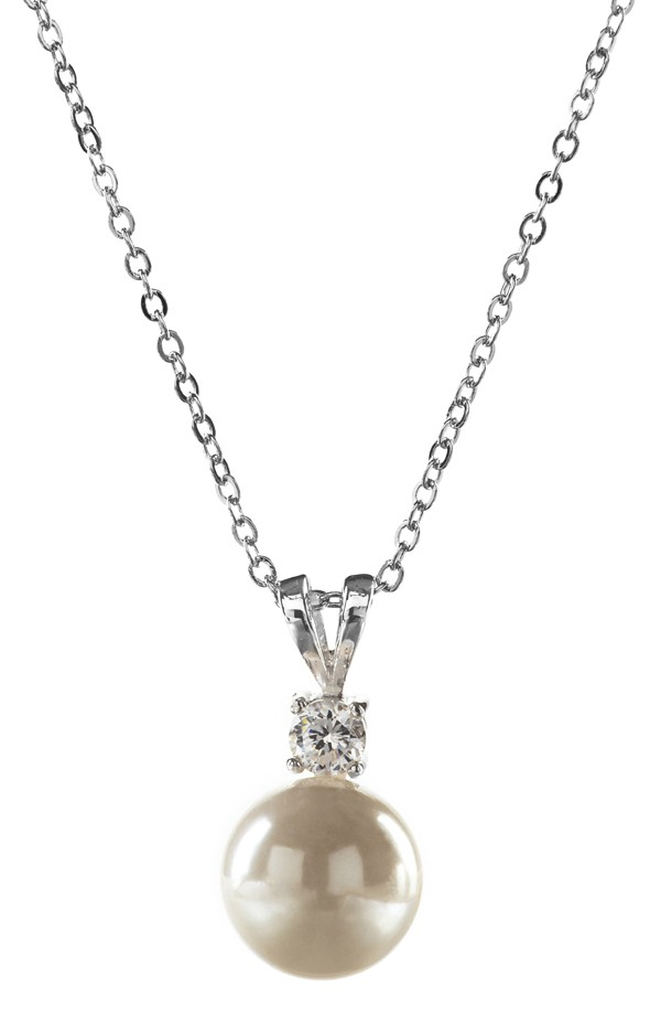 Pearl and CZ Necklace