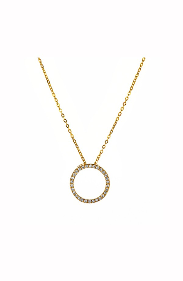 Gold Circle Of Life CZ Necklace