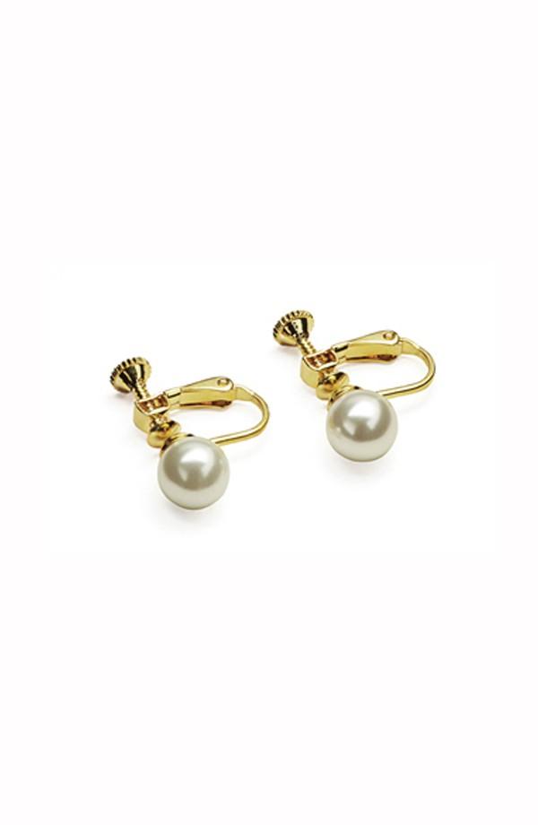 Pearl Screw Back Earrings
