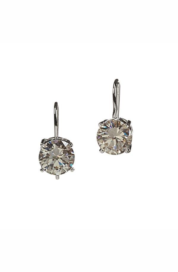 Round CZ Drop Earrings