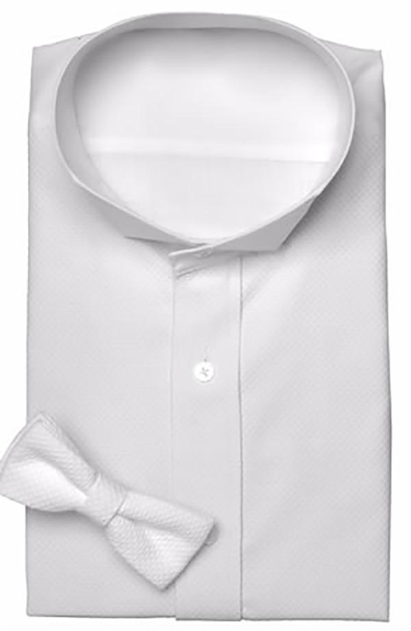 White Pique Tuxedo Shirt